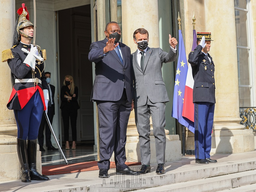 Uhuru received by French counterpart Macron in Paris